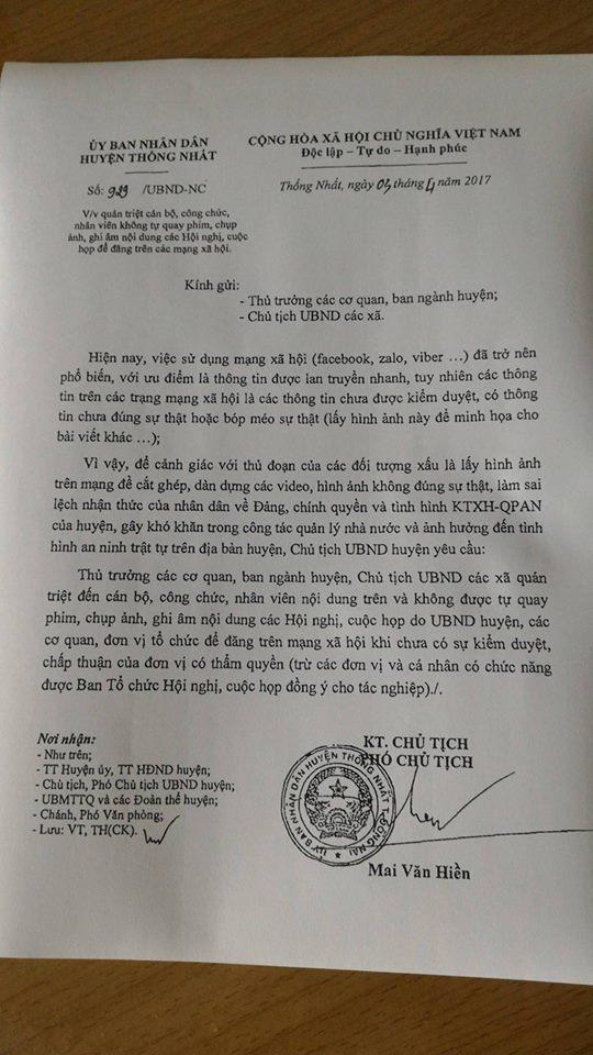 Huyện Thống Nhất (Đồng Nai): Cấm quay phim, chụp hình các cuộc họp, hội nghị!