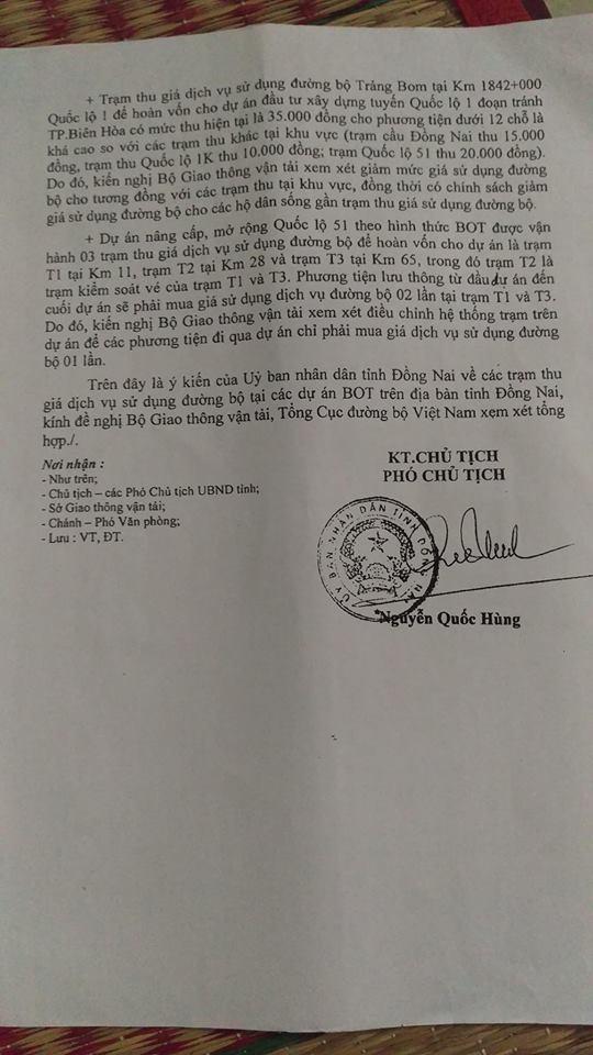 Đồng Nai kiến nghị dời một trạm thu phí sai vị trí