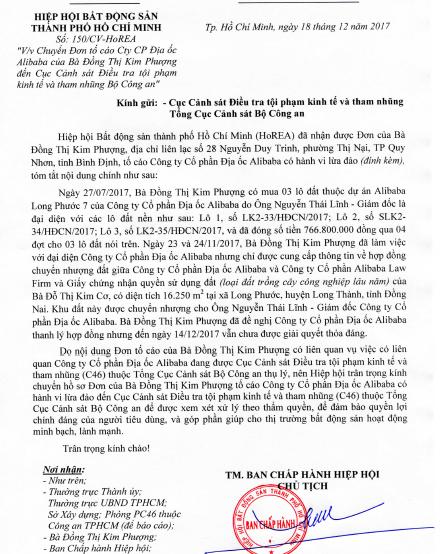 Thêm một khách hàng tố cáo địa ốc Alibaba - Ảnh 1.