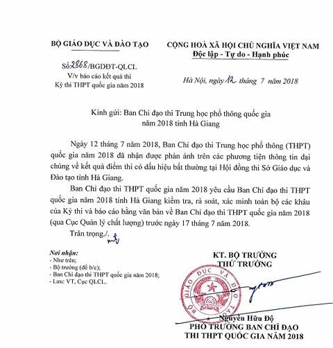 Đoàn công tác Bộ GD-ĐT lên Hà Giang làm rõ vụ điểm thi bất thường - Ảnh 1.