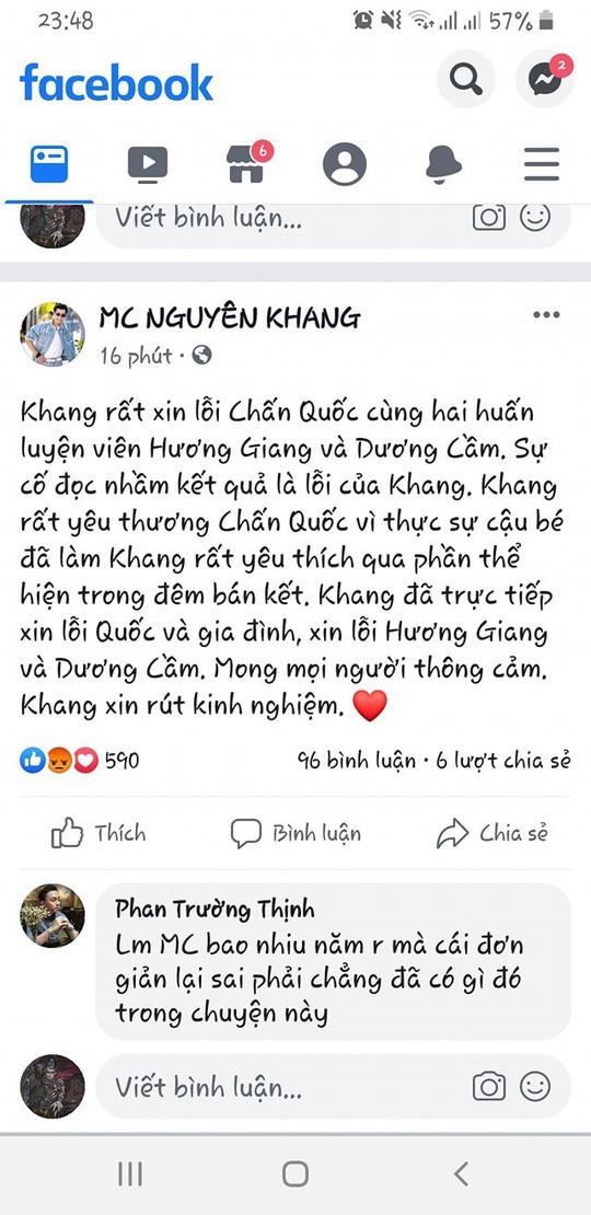 MC Nguyên Khang đọc nhầm kết quả Giọng hát Việt nhí: Con tim che mất lý trí?! - Ảnh 2.
