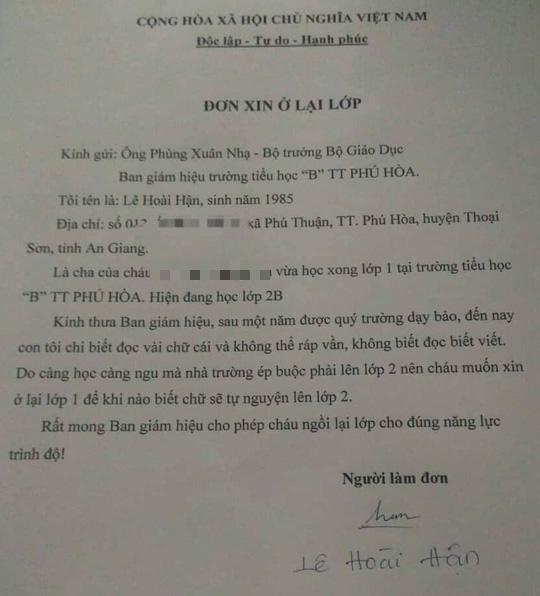 Bất ngờ đơn xin ở lại lớp gửi Bộ trưởng Bộ GD-ĐT - Ảnh 2.