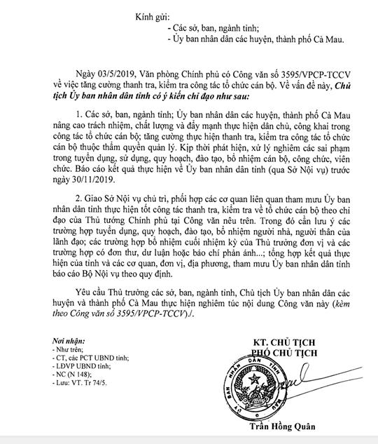Chủ tịch Cà Mau lưu ý việc bổ nhiệm người nhà lãnh đạo làm cán bộ - Ảnh 1.