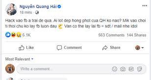 Facebook bị hack, lộ nhiều chuyện riêng tư, Quang Hải cầu cứu an ninh mạng - Ảnh 1.