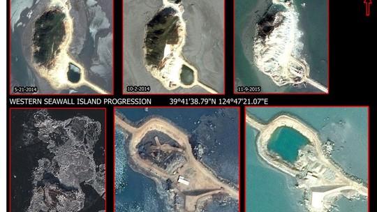 Ảnh vệ tinh chụp các đảo nhân tạo của Triều Tiên. Ảnh: TNS