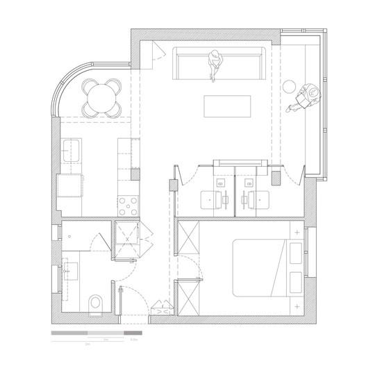 Mặt bằng căn hộ 53 m2.