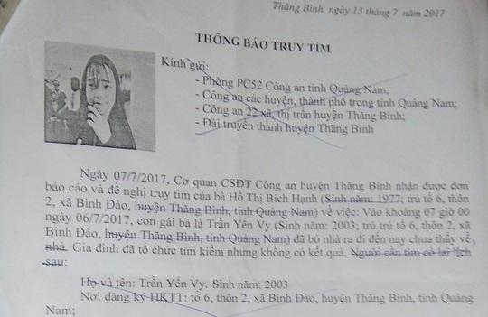 Nữ sinh Quảng Nam mất tích hơn 10 ngày đang ở... Sài Gòn - Ảnh 1.