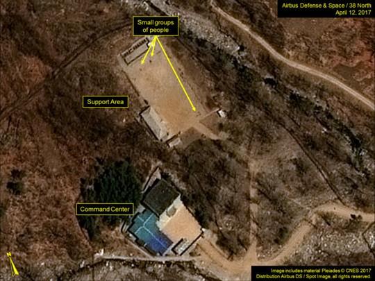 Sơ đồ khu vực hành chính của bãi thử hạt nhân Punggye-ri. Ảnh: 38 North