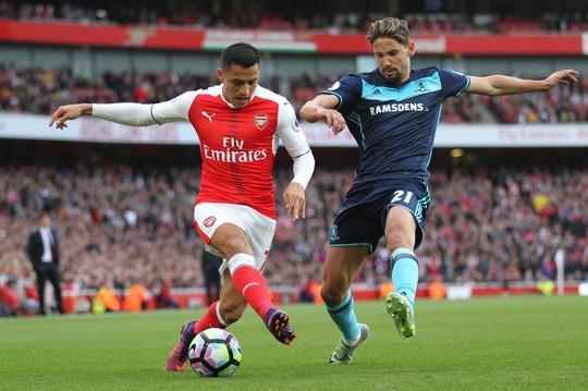 Sanchez (trái) sẽ kịp bình phục, giúp hàng công Arsenal khai hỏa trước MiddlesbroughẢnh: REUTERS