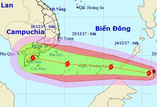 Bão Tembin giật cấp 13 vào Biển Đông, tăng tốc hướng Nam bộ
