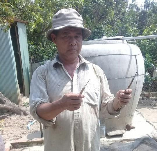 Các cây chông sắt được nhà ông Đắng nhặt được trong ruộng nhà. Ảnh: Minh Hào