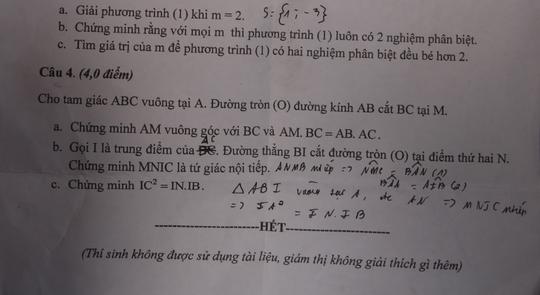 Quảng Nam: Nhầm lẫn ở đề kiểm tra toán lớp 9 - Ảnh 1.