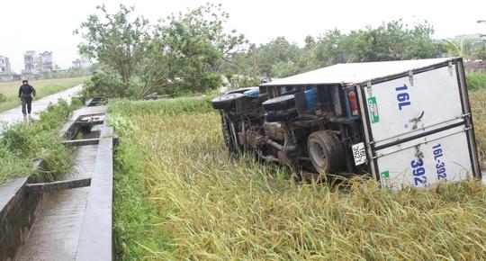 Vòi rồng đen sì ném xe tải từ trên đường xuống ruộng lúa - Ảnh 2.