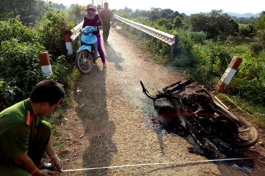 Lâm tặc đốt cả xe khi bị kiểm lâm chặn bắt - Ảnh 1.