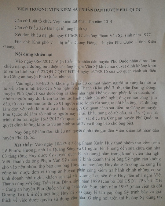 """Không khởi tố vụ """"rút súng"""" tại nhà nghỉ ở Phú Quốc - Ảnh 1."""
