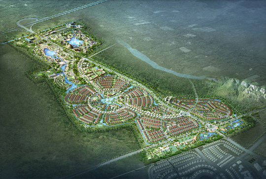 """Phối cảnh Khu đô thị sinh thái Tuần Châu Ecopark do Công ty cổ phần Tuần Châu Hà Nội, thành viên của Tập đoàn Tuần Châu, làm chủ đầu tư. Dự án được mệnh danh là """"tiểu Tuần Châu giữa lòng Hà Nội"""", tổng vốn đầu tư 5.000 tỉ đồng, triển khai trên phần diện tích gần 200 ha và dự kiến sẽ được quy hoạch trở thành khu đô thị sinh thái hiện đại với đầy đủ tiện ích như thành phố thu nhỏ. Riêng khu công viên vui chơi giải trí rộng 11 ha."""