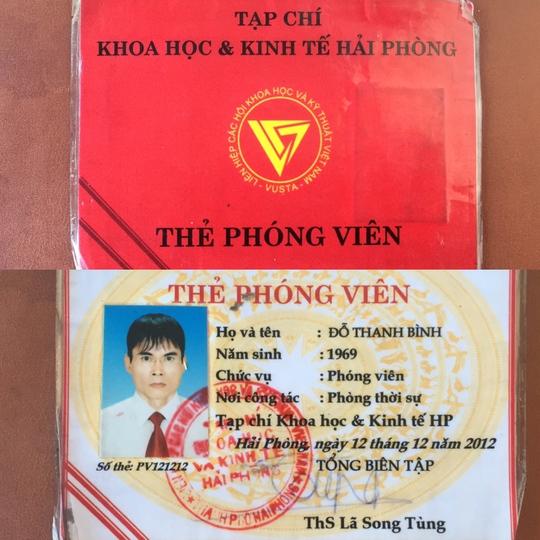 Thẻ phóng viên của Đỗ Thanh Bình. Ảnh: C.Linh