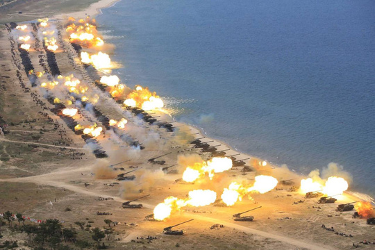 Một cuộc tập trận của Triều Tiên. Ảnh: KCNA