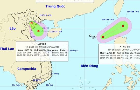 Áp thấp nhiệt đới chồng áp thấp nhiệt đới trên biển Đông - Ảnh 1.