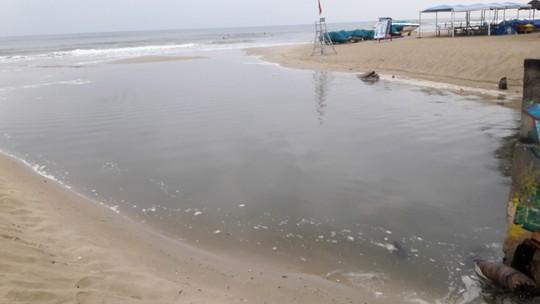 Nước thải đen ngòm lại tuôn ra biển Đà Nẵng lúc trời đang mưa - Ảnh 7.
