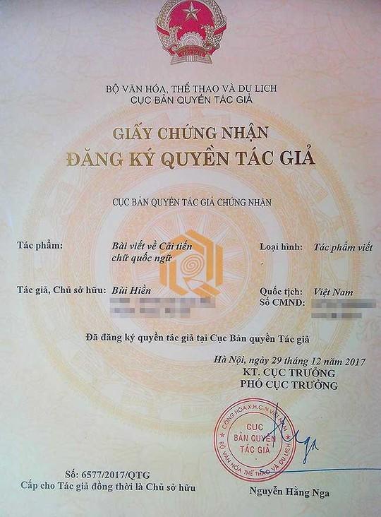 Cấp chứng nhận bản quyền cho cải tiến tiếw Việt của PGS Bùi Hiền - ảnh 2