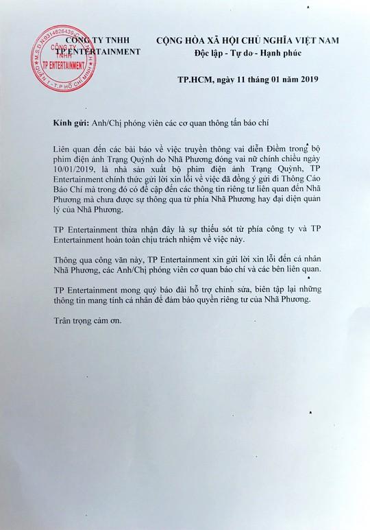 """Nhà sản xuất phim """"Trạng Quỳnh"""" xin lỗi Nhã Phương - Ảnh 1."""