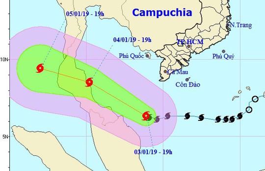 Bão số 1 giật cấp 11 cách mũi Cà Mau 240 km, Tây Nam Bộ mưa diện rộng - Ảnh 1.