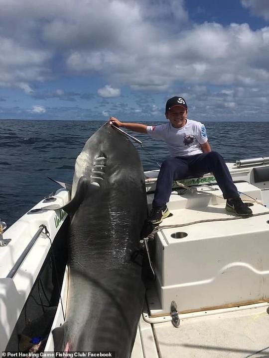 Cá mập 314 kg thất thủ trước bé trai 8 tuổi - Ảnh 1.