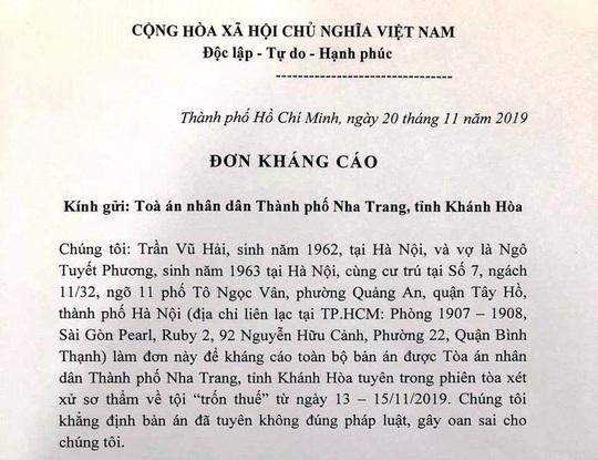 Vợ chồng luật sư Trần Vũ Hải kháng cáo bản án trốn thuế - Ảnh 2.