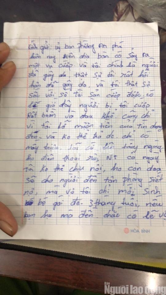 Tên cướp bí ẩn gửi trả 100 triệu đồng cùng thư xin lỗi - Ảnh 1.