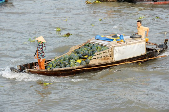 Chợ nổi lớn nhất miền Tây tấp nập nông sản những ngày giáp Tết  - Ảnh 9.