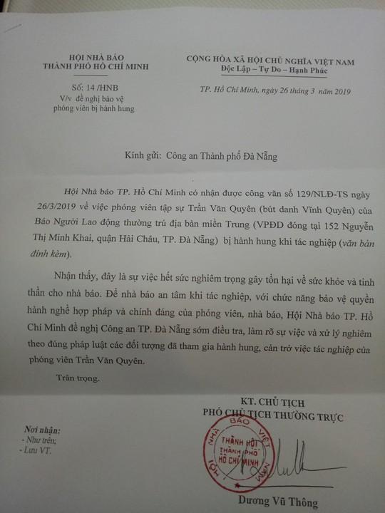 Hội Nhà báo đề nghị khẩn trương điều tra vụ phóng viên Báo Người Lao Động bị hành hung - Ảnh 2.