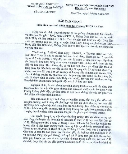 Cần Thơ thông tin về vụ 1 học sinh bị đánh hội đồng - Ảnh 1.