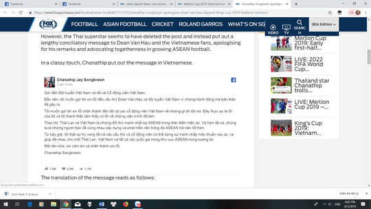 Messi Thái Lan dùng tiếng Việt xin lỗi Văn Hậu sau bình luận quá trớn - Ảnh 3.