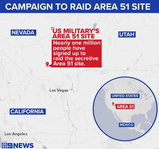 """Mỹ sẵn sàng đối đầu hơn nửa triệu """"thợ săn"""" định xông vào Vùng 51 - Ảnh 1."""