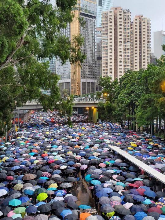 Biển ô tuôn xuống đường ở Hồng Kông ngày cuối tuần - Ảnh 1.