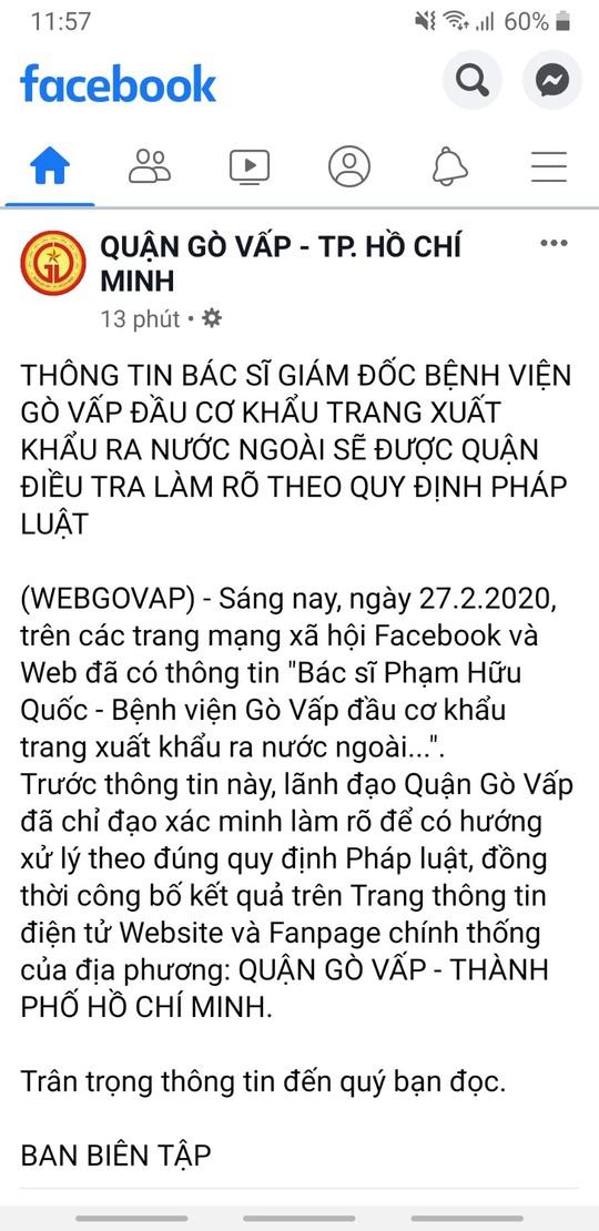 Xác minh thông tin giám đốc Bệnh viện Gò Vấp bị tố đầu cơ khẩu trang - Ảnh 3.