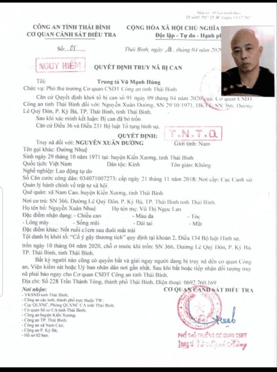 Truy nã Đường nhuệ - chồng nữ doanh nhân bất động sản ở Thái Bình - Ảnh 1.