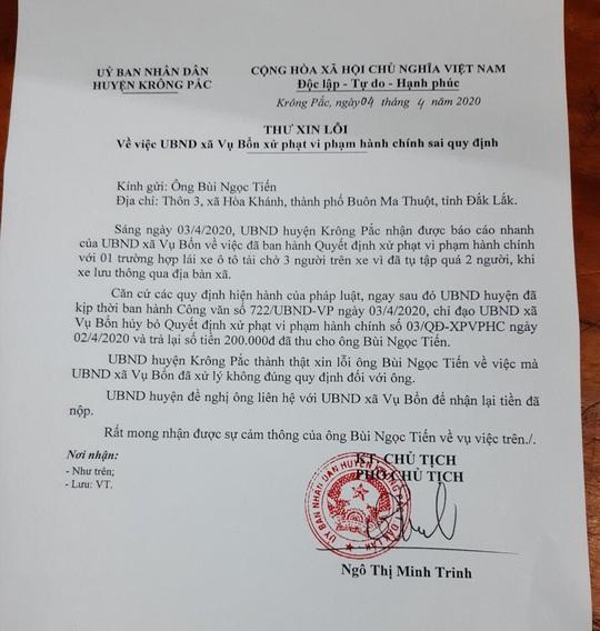 Huyện gửi thư xin lỗi tài xế bị phạt 200.000 đồng vì… tụ tập 3 người trên cabin xe - Ảnh 1.