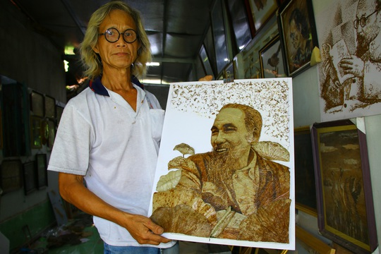Nghệ nhân Đồng Tháp tiết lộ bí quyết sáng tác tranh Bác Hồ từ lá sen - Ảnh 5.