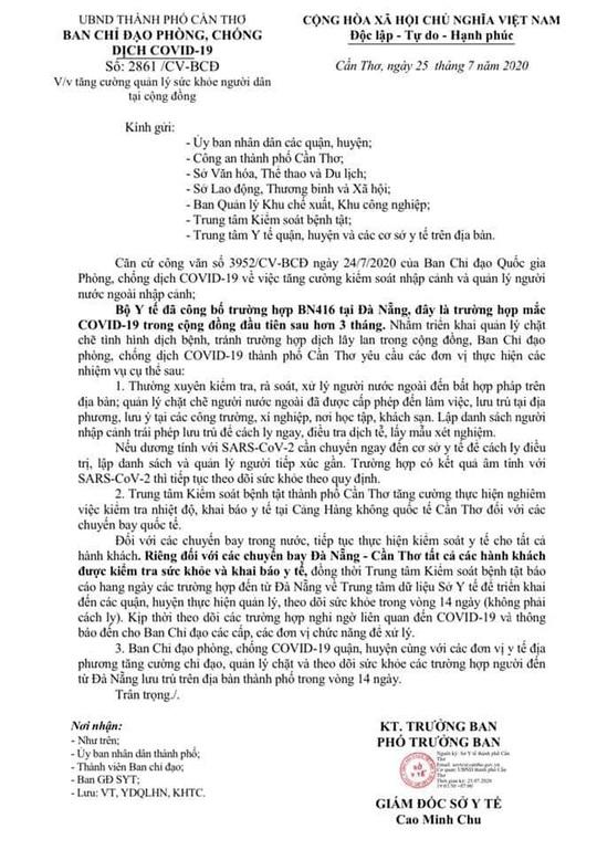 Cần Thơ: Yêu cầu quản lý chặt các trường hợp đến từ Đà Nẵng để phòng Covid-19 - Ảnh 1.