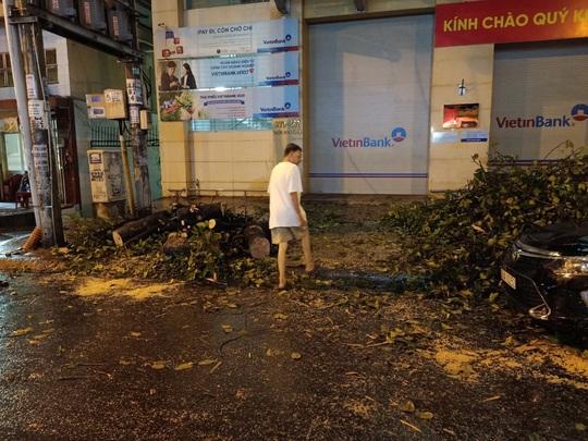 Mưa to cây cổ thụ gãy đổ trúng nhiều người đè bẹp xe ô tô - Ảnh 2.