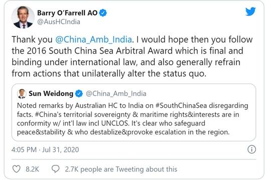 Nhà ngoại giao Trung Quốc và Úc tại Ấn Độ khẩu chiến vì biển Đông - Ảnh 2.
