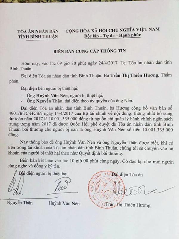 Trong tuần này ông Huỳnh Văn Nén sẽ nhận tiền bồi thường