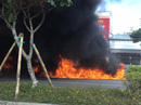 Xe máy cháy ngùn ngụt trên đường đẹp nhất TP HCM