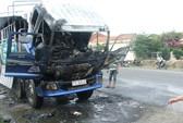 Xe tải bỗng bốc cháy, 16 triệu đồng ra tro