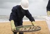 Đãi cát dọn dầu vón, chai lọ chữ Trung Quốc trên biển Quảng Nam