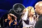 Tóc cuốn vào quạt, Beyonce vẫn hát