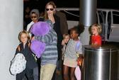 """Angelina Jolie """"tay xách, nách mang"""" 6 con tới Úc"""