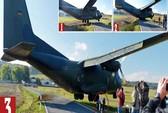 Máy bay quân sự suýt đáp xuống lưng người trên đường